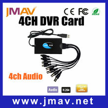 De alta definición h. 264 cctv 4ch usb dvr de vídeo tarjeta de captura de audio p2p plug and play