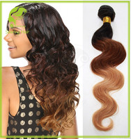 Ombre 1b/33/27 Color Three Tone Ombre Brazilian Hair Weave Wet and Wavy