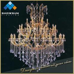Showsun new design iron glass arm large hotel cristal light