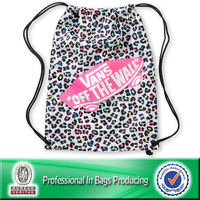 Lead-free 100% Recycled 210D polyester gym drawstring shoe bag
