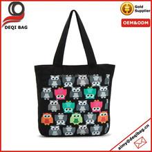 OEM fashion cotton canvas tote bag owl pattern canvas bag