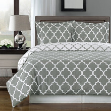 Gray and White Meridian King / Cal-king 3-piece Duvet-Cover-Set, 100 % Egyptian Cotton 300 TC