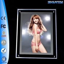 Guangzhou factory backlit poster crystal led light panel frame