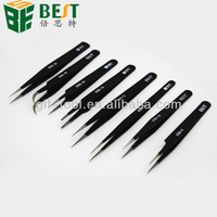 round curved slanted straight fine pointed anti-static tweezer for mobile phone/laptop/computer repair