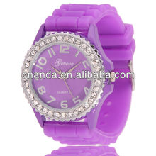 38MM Silicone Wristband Geneva Ladies Watch Very Cheap Watches