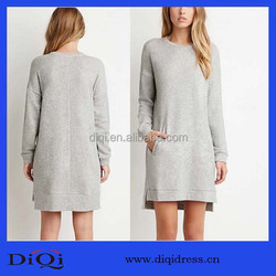 Newest design full cotton terry straight long-sleeved blank t-shirt dress with ribbed cuffs