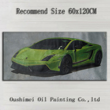 Pure Handmade Beautiful Wall Decoration High Quality Green Sports Car Oil Painting On Canvas Extreme Sports Car Oil Painting