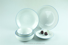 White with blue line design dinner set porcelain of set 16 pcs cheap price stock