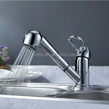 Solid Brass Pull Out Spray Faucet Chrome Single Handle Kitchen Sink Mixer Tap