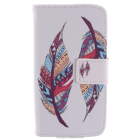 Original Feather Pattern Color Painting Stand Wallet Flip Cover Phone Case for Motorola MOTO X