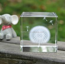 Best souvenir gift 3d dandelion crystal/dandelion plant specimens crafts