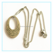 2015 Popular Fashion Long Chain Round Shape Pendant Carve Words Pendant Necklace Stainless Steel