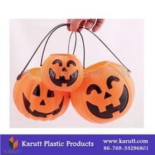 Plastic Halloween pumpkin bucket container with plastic handle