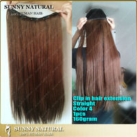 one piece clip in hair extensions color 4 human hair clip in hair extensions for black women 160g/180g/200g to choose