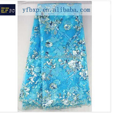 New design high quality flowers with sequins embroidery designs new high quality Africa design fabric