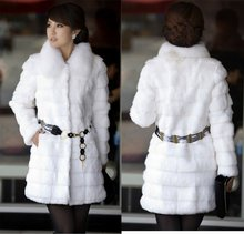White lady fashion rabbit fur coat with fox fur collar and nice band