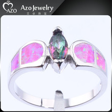 Women's 925 Sterling Silver Old Fashioned Wedding Rings with Opal