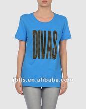 ladies fashion printed beaded t shirt