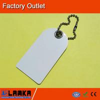 Plastic smart card with metal keychain, irregular shape, blank or printed