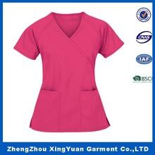 Hospital Workwear Scrubs Unisex 2 Roomy Pocket Top,New Design Medical Scrubs Uniform