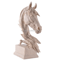 resin sand stone horse head sculpture for home garden decoration crafts wholesale 13042