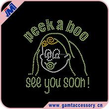 Bling New Baby Peek A Boo See You Soon Custom Rhinestone Transfer For T-Shirt Wholesale