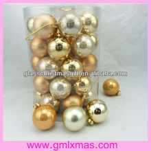 Decorative hangging barrel hollow glass christmas ball with aluminum cap,Trade Assurance supplier