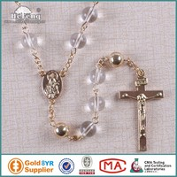 Pretty Transparent Glass Beads With Red Golden Copper Beads Rosary Necklace