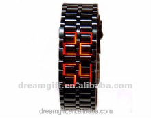 2015 hot lava style led iron watches brand watch samurai LED watch red &blue light women&men style