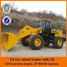 Cat licensed engine,CE,4WD,5ton,joystick control, big wheel loader with diesel engine