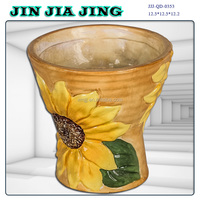 Sunflower ceramic Wide mouth flower pot