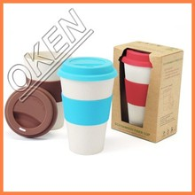 Recycled bamboo fiber cup in bamboo style
