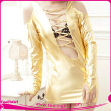 Wholesale Gold Open Front Sexy Club Dress