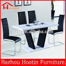 2015 new design 4 seater mdf white gloss dining table