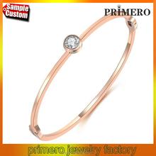 Titanium 316L Stainless Steel Shining Rhinestone CZ Diamond 22K Rose Gold Bangle