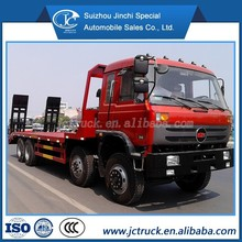 ChuFeng 8X4 flat plate transport truck/ flatbed container transport trailer