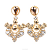 gold classic court gemstone earring, crystal earring stud(SWTJUQM015)