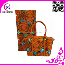 High Quality WB-005 Bag Matching Printed Wax one set Leather Handbag in China for party /wedding Dress