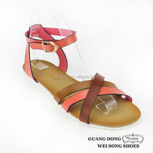 European style stylish flat crossing upper open toe ankle strap slingback 2015 ladies sandal shoes