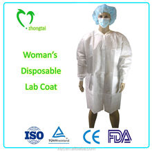 cheap disposable women's non woven PP lab coat for surgical and medical use
