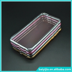 New 2 in 1 Transparent TPU Case with metal Electroplating Bumper for iPhone 6 4.7 inch