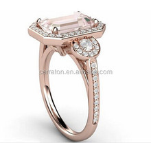 Shenzhen carraton princess cut pink engagement ring over sterling silver 925 jewelry