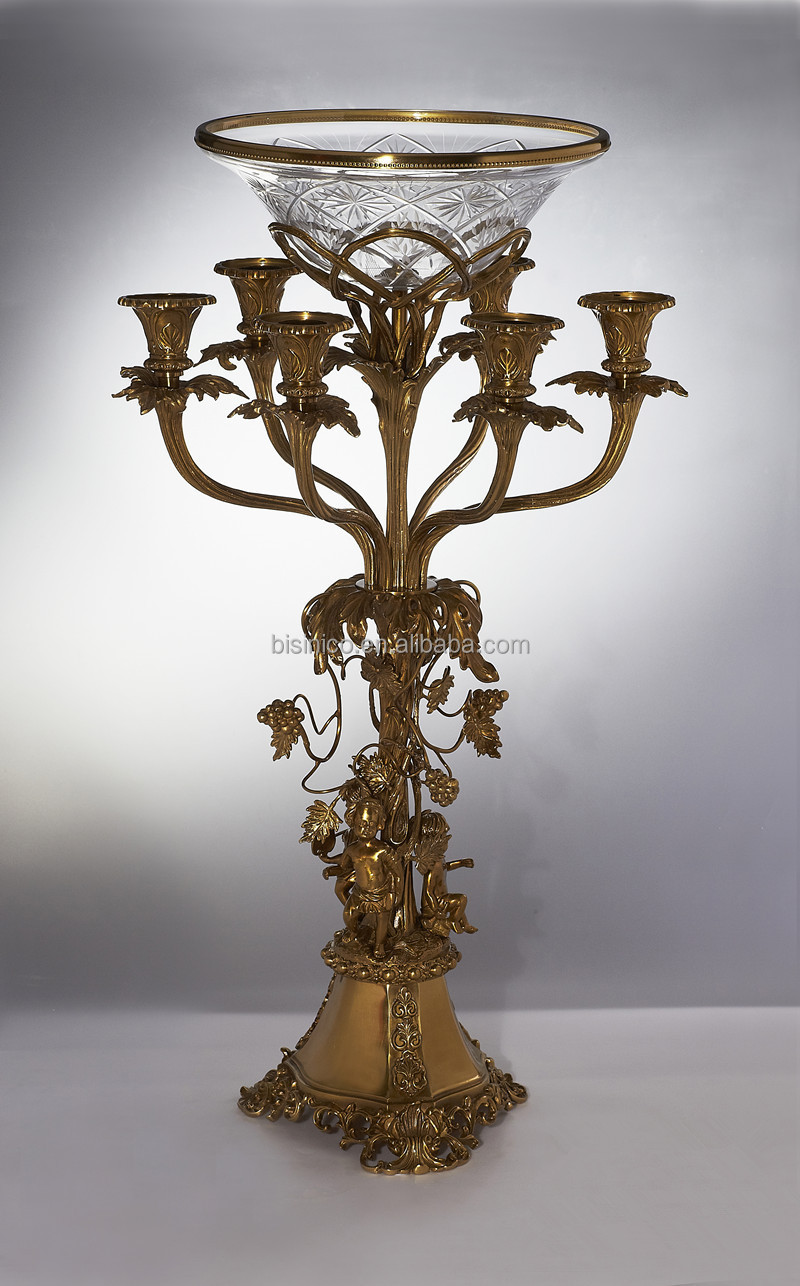 Ornament candelabra with crackle glass bowl centerpiece
