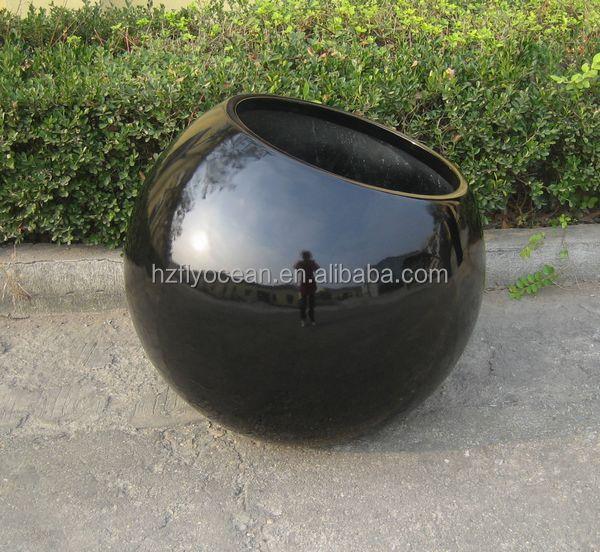 Large Decorative Ball Fiberglass Plant Flower Pot For Sale