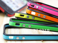 TPU silicone Bumper frame case cover with metal buttons for iPhone 4S 4