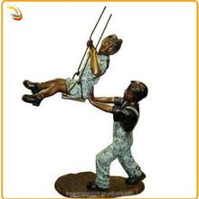 Modern Antique Bronze Children Playing Swing Sculpture For Garden Decoration