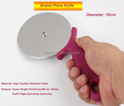 high quality brand European round pizza knife, promotional export blade pizza cutter, pizza wheel with plastic handle