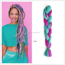 Ombre two tone x pression kanekalon braiding hair wholesale, rainbow color braiding hair synthetic marley hair braid