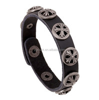 STOCK Round crossed cross studs fashion bracelet leather for arm wrist cuff bracelet