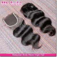 100% Malaysian virgin hair 3 way top closure bleached knots body wave hair pieces three part lace closure
